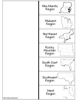 REGIONS OF THE UNITED STATES FOLD-UP - TeachersPayTeachers.com