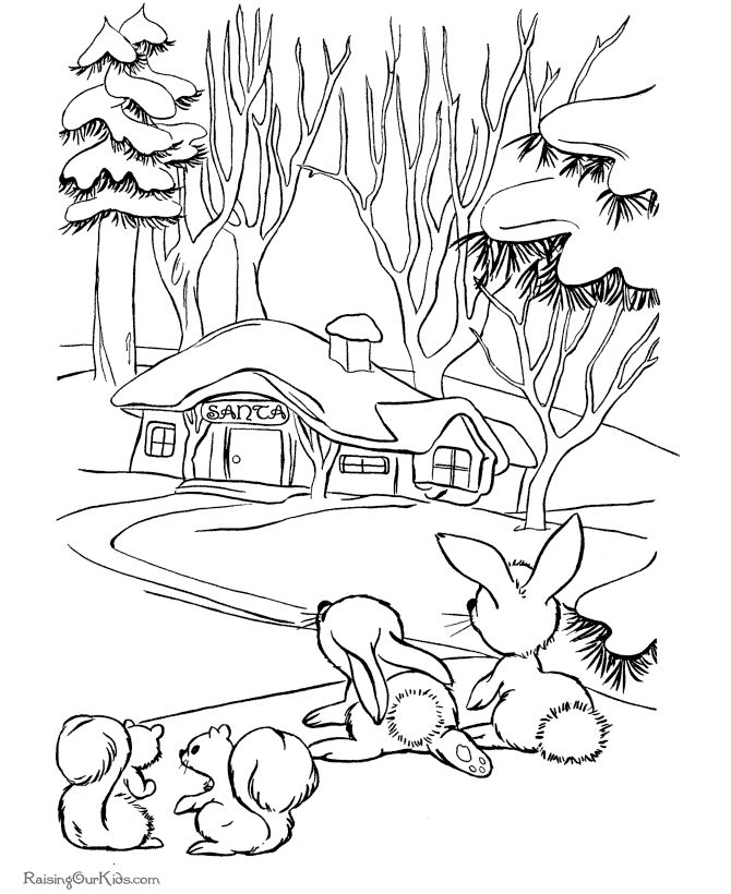 Free christmas scenery coloring pages ~ 12 best images about Christmas Coloring Pages on Pinterest