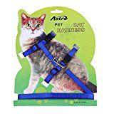 Pecute Pet Cat Lead Leash Halter Harness Kitten Nylon Strap Belt Safety Rope Adjustable Cat Dog Collar (Blue)