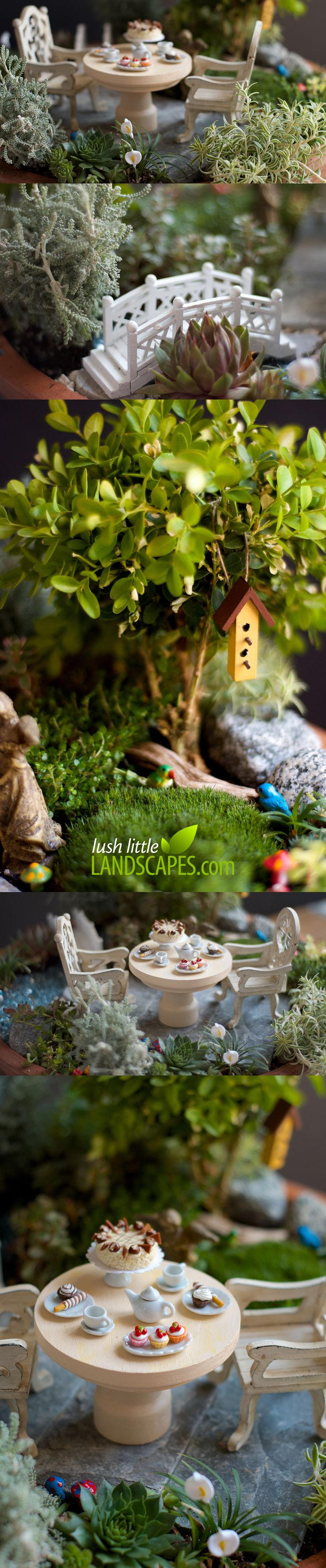 Miniature Garden Tea Party   Lush Little Landscapes look like a real garden - complete with a mini birdhouse, tiny birds, little mushrooms, miniature footbridge, and a dessert of cupcakes and cake with your tea.