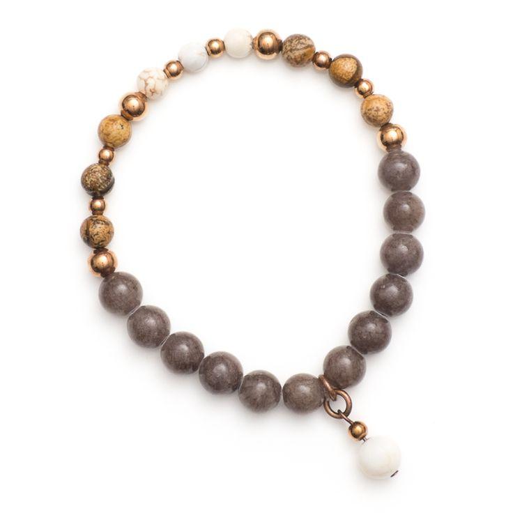 xada jewellery - Boho grey Jade and tan bead copper bracelet, $29.95 (http://www.xadajewellery.com/shop-by-collection/boho-grey-jade-and-tan-bead-copper-bracelet/)