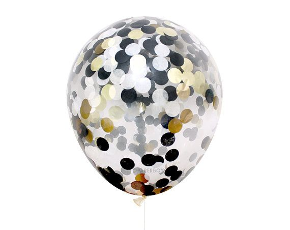 Black White & Gold Confetti Balloon Black Tie by PaperboyParty