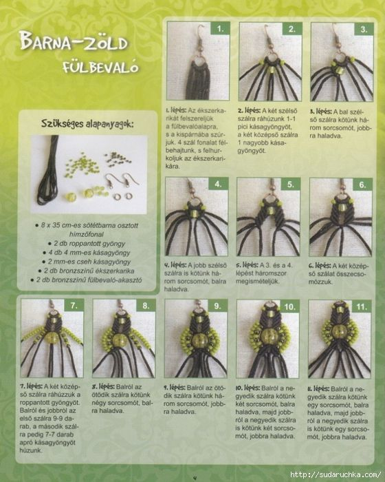 Lots of free micro macrame jewelry tutorials on this page - not in English - lots of pictures.