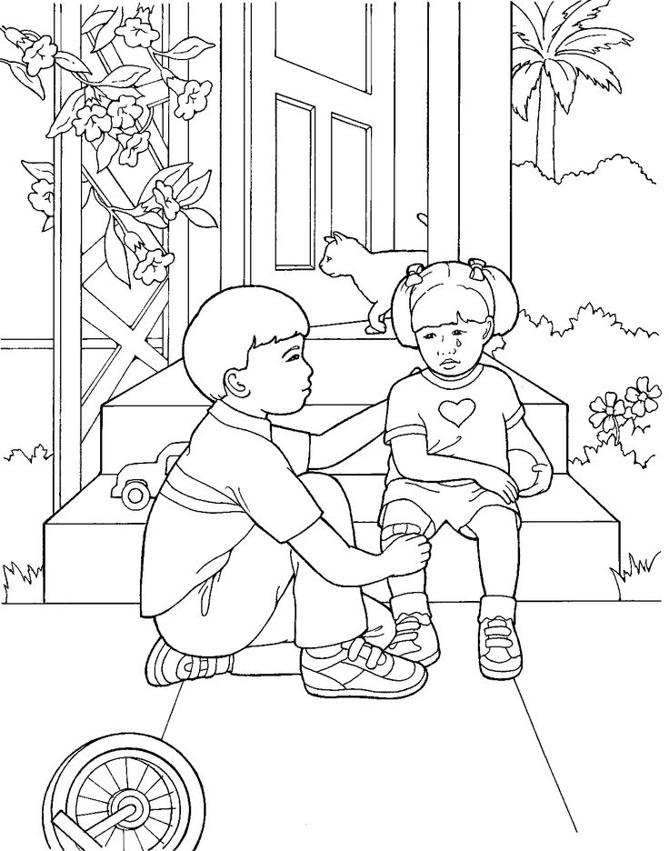 Primary Coloring Page From Ldsorg A Little Boy Comforts Girl Whos