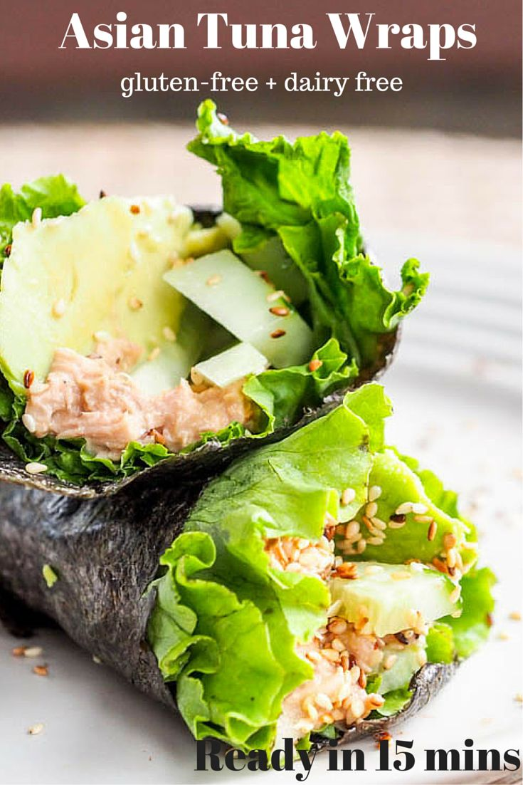 This Asian Tuna wrap is a simplified version of the classic Japanese tuna hand roll, except it's ready within minutes and made with canned tuna, cucumber, avocado and seaweed wraps. Low calorie, low carb. Have lunch on the table in minutes - perfect during the busy holiday season. Gluten Free + Dairy Free