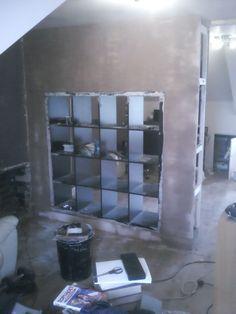 Build a wall using Ikea Expedit & drywall - BRILLIANT!