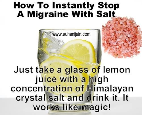 Himalayan salt and lemon juice for migraines - Google Search also read to use lime and salt or rub a lime directly on forehead.