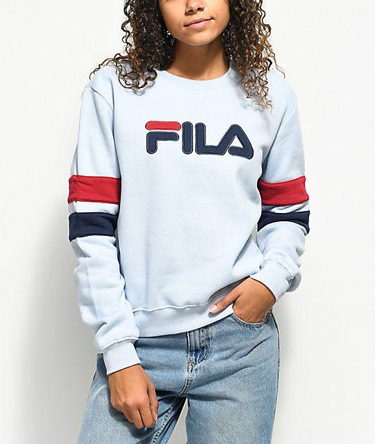 Fila Newton Light Blue Crew Neck Sweatshirt Zumiez Trim Sweatshirt Sweatshirts Crew Neck Sweatshirt