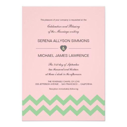 Invitations roses et vertes de mariage de Chevron