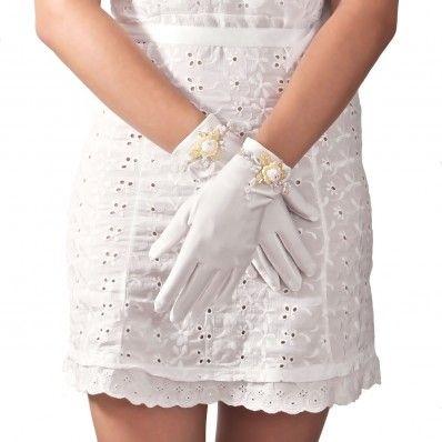 Bridal Short Satin Gloves With Pearls And Swarovski Crystal - Guanti Per Sposa Corti In Raso Con Perle e Strass Swarovski