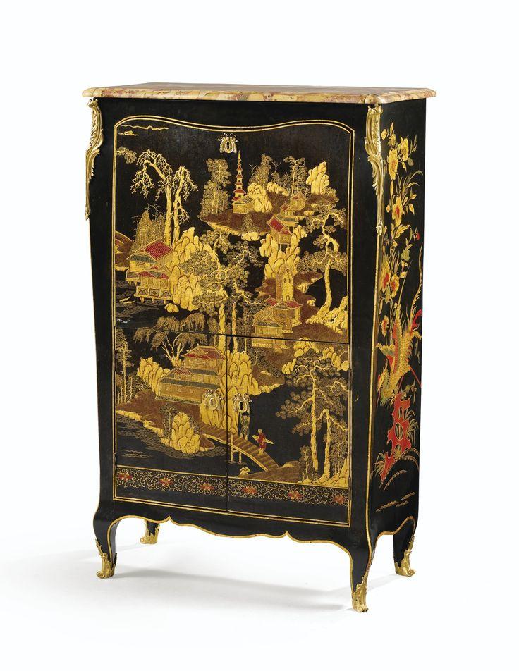 Secrétaire en vernis parisien et montures de bronze doréd'époque Louis XV, estampillé C WOLFF et JME, vers 1760 | Lot | Sotheby's