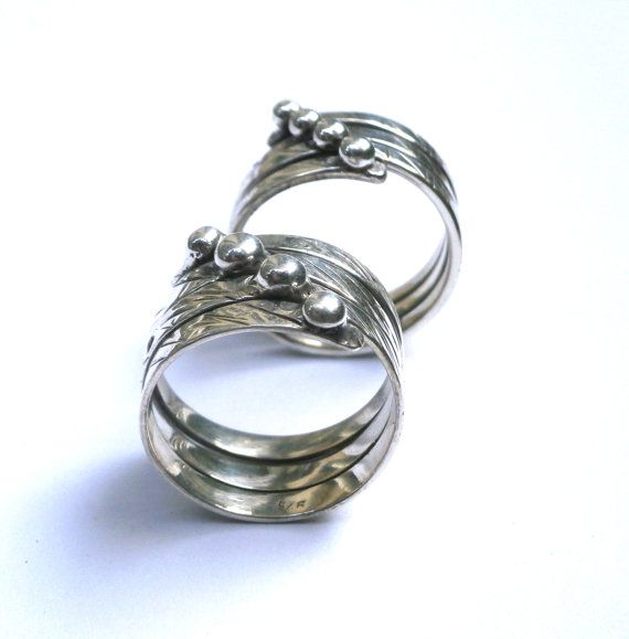 Fine Silver Ring Wrapped Ring Triple Ring by JewelryByKonstantis