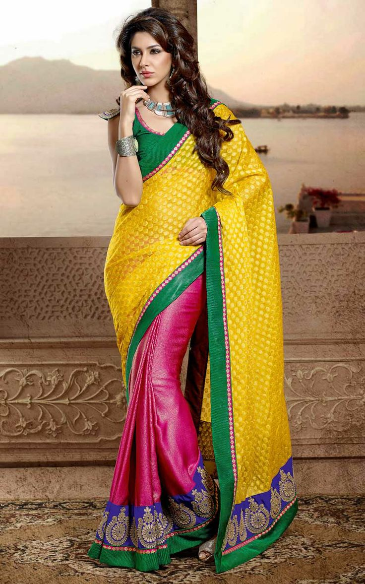 YELLOW & PINK CHIFFON EMBROIDERED SAREE - DIFF 28340
