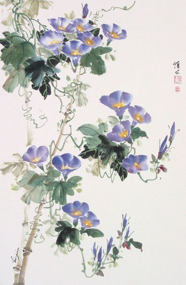 Morning Glories and Bamboo