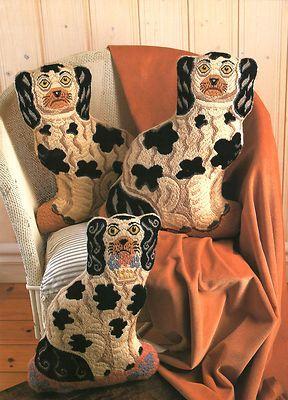 Needlepoint staffordshire dogs. <3
