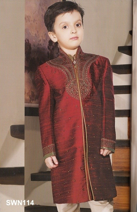 Maroon Dupion Silk High Neck Sherwani $135