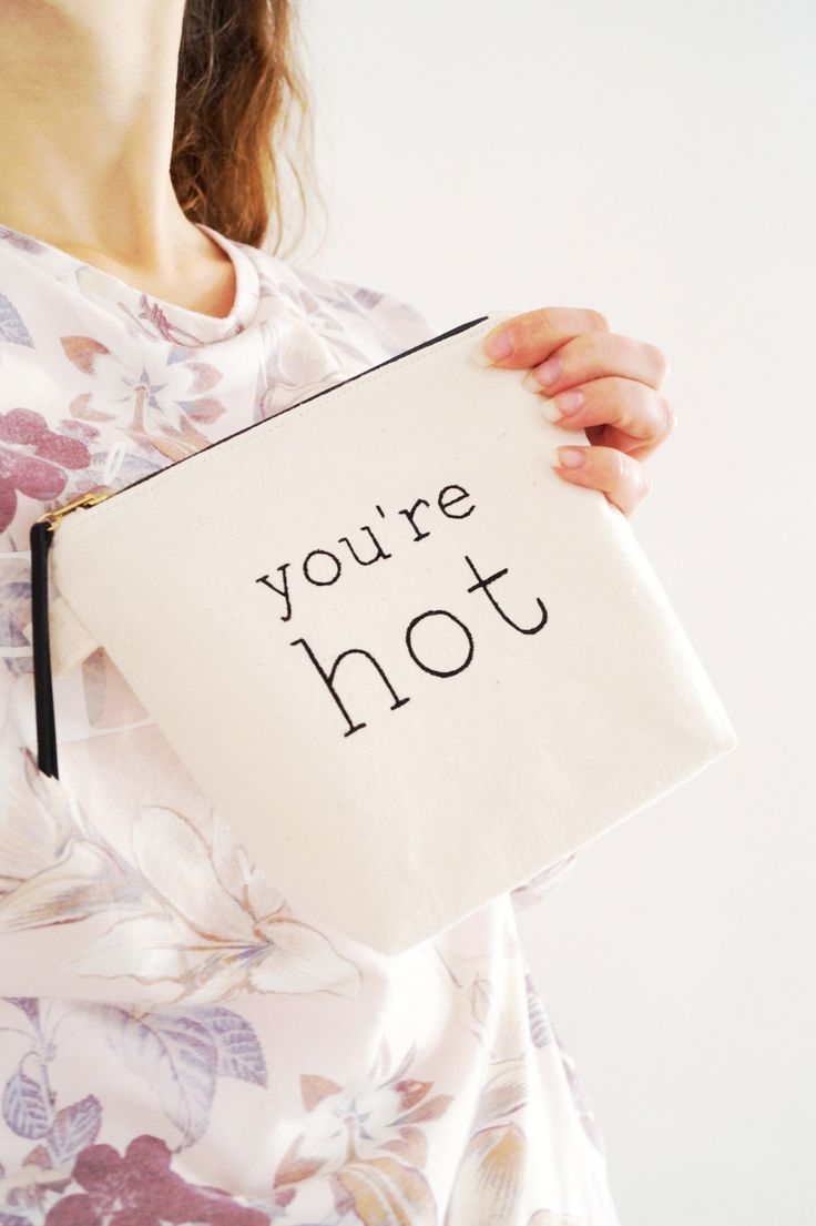 Cute makeup zipper pouch YOU'RE HOT. Beautiful cosmetic bag. Fun, personalized quote case. Handmade Etsy. Stylish women fashion accessories. Trendy. Makeup addict