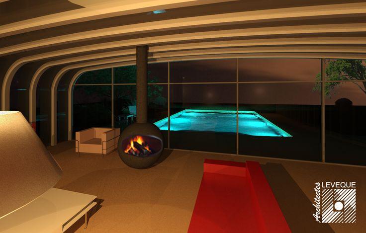 Intérieur d'une maison contemporaine avec piscine