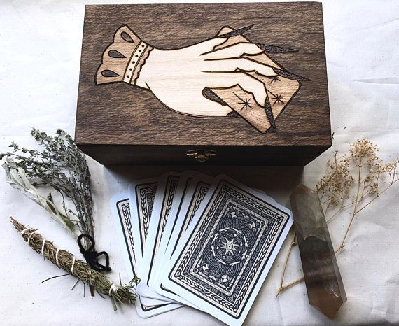 Triple Moon Hand Carved Wooden Crystal//Herb//Tarot Box