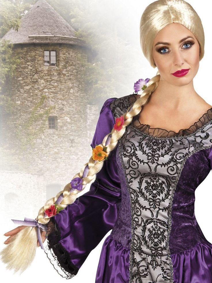 Wunderschöne Rapunzel-Perücke mit Textil-Blüten. Blonde Zopfperücke für Märchenkostüme zu Fasching oder Mottoparty. Länge ca. 80cm.