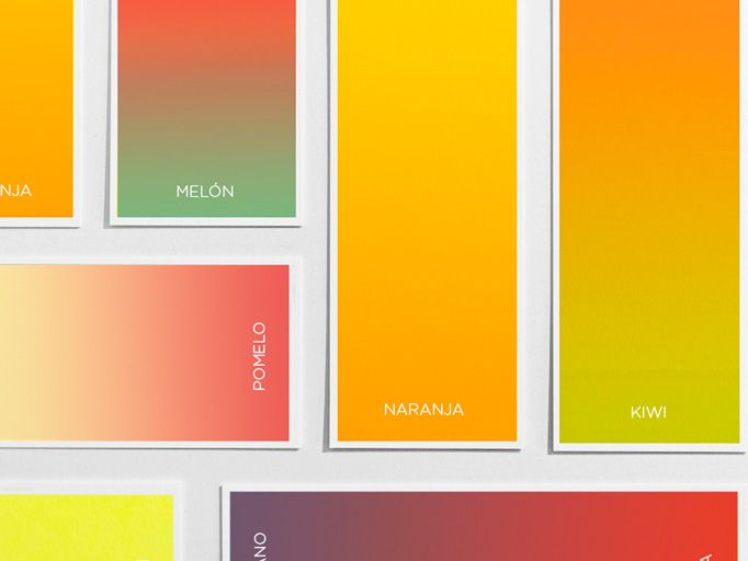 Fitting for the simplicity of the products they offer, this ultra-minimalist rebrand for Spanish juice chain features beautiful gradient representations of myriad juice flavors, delightful rounded sans serif type, and darling mono-weight illustrations.