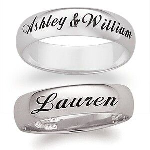 Gorgeous platinum matching 6mm cushion cut wedding bands. Made for a lifetime of happiness with detailed name engraving.