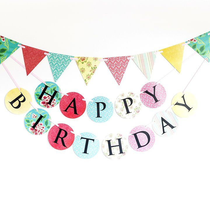 'Shanghai' vintage style pink aqua yellow Made for Ava birthday banner and bunting set