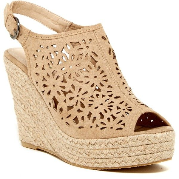 Bucco Renteria Wedge Sandal ($37) ❤ liked on Polyvore featuring shoes, sandals, beige, beige wedge sandals, platform shoes, wedges shoes, wedge heel sandals and open toe wedge sandals