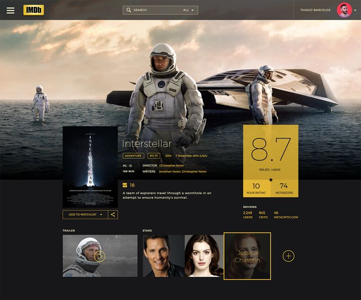 Dribbble - IMDb_Layout_Interstellar.png by Thiago Barcelos