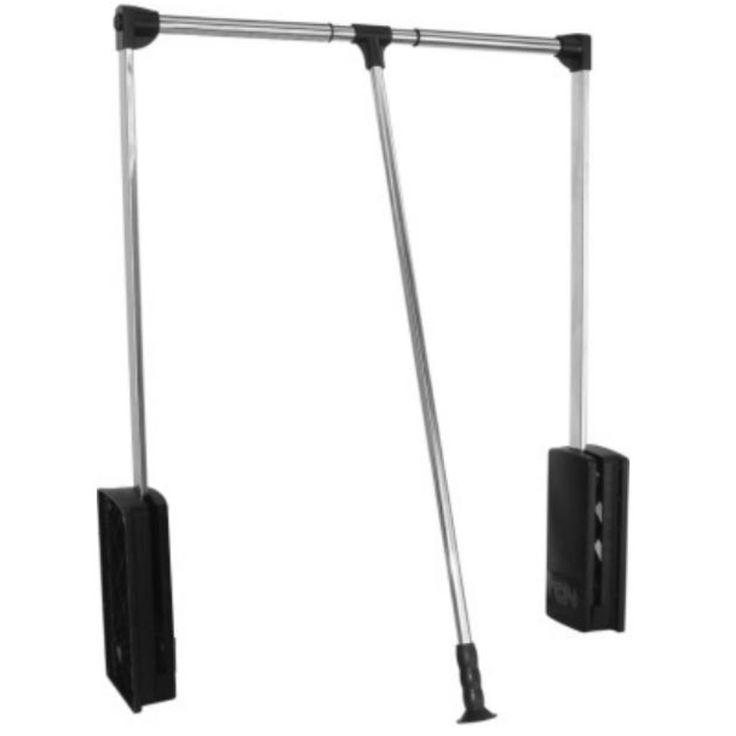 Cabideiro basculante ideal para utilizar em armários e roupeiros altos.
