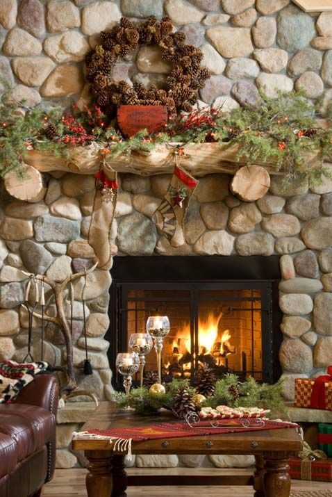 Lovely river rock fireplace and some holiday inspiration for the vacation mountain home ~~Look at that fireplace! The rock work is grand!!