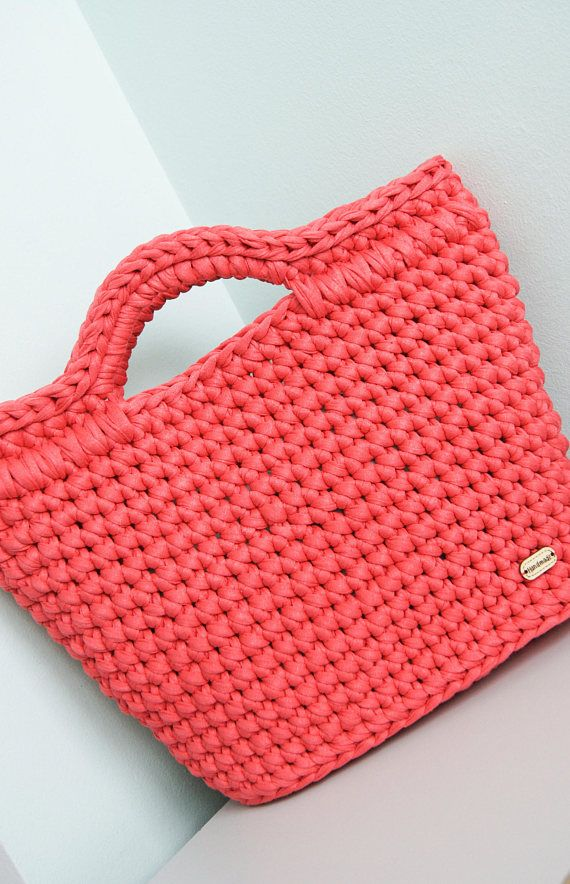 crochet handle coral bags Handmade rope bag Crochet women | tejidos ...