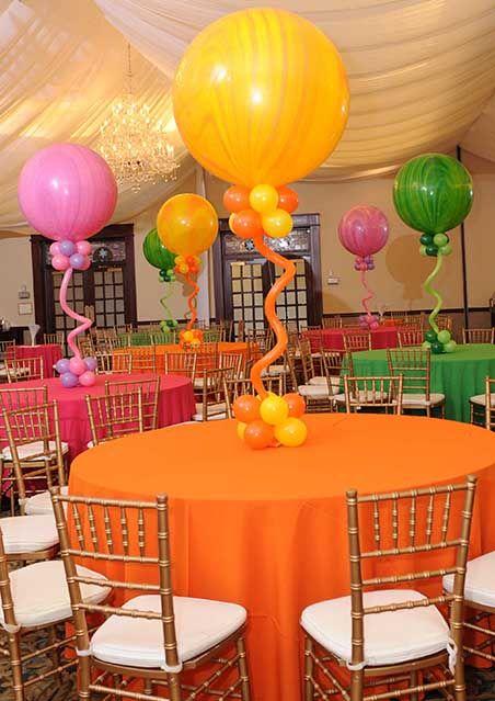 Marble Balloon Centerpieces with Balloon Bases