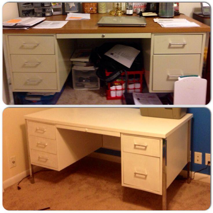 Old Metal Desk Refinished Just Prime Paint Home Remodel Pinterest Desks And