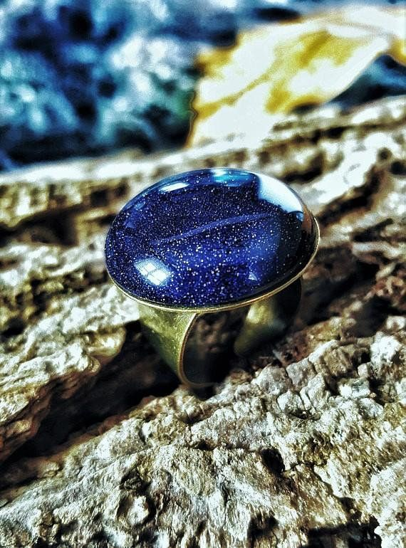 Nature Stone Ring, Blue Sand Stone, Adjustable, Galaxy Ring