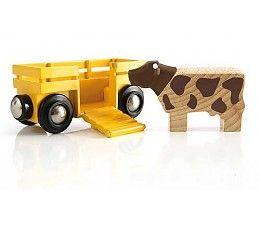 De koe heeft een wagon helemaal voor zichzelf, welke aan iedere BRIO locomotief of wagon gekoppeld kan worden. Help de koe aan boord, door de klep open te doen zodat ze naar binnen kan lopen. Sluit de klep weer, zodat de koe veilig staat en de reis kan beginnen.  http://www.planethappy.nl/brio-treinen-veewagen.html