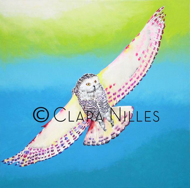 Snowy Owl on Turquoise Sky.....30x30 acrylic on canvas