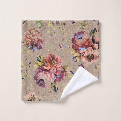 Vintage Rustic Floral Wash Cloth - flowers floral flower design unique style