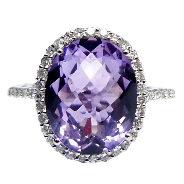 Purple Amethyst Diamond Cocktail Ring (via @1stdibs)