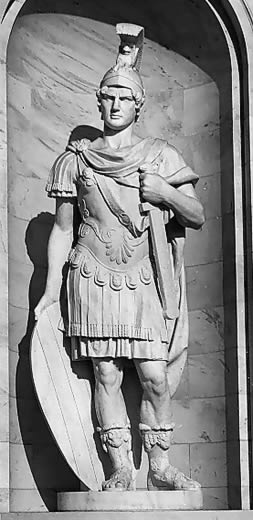 Roman Soldier with leather skirt and flaps that allowed movement
