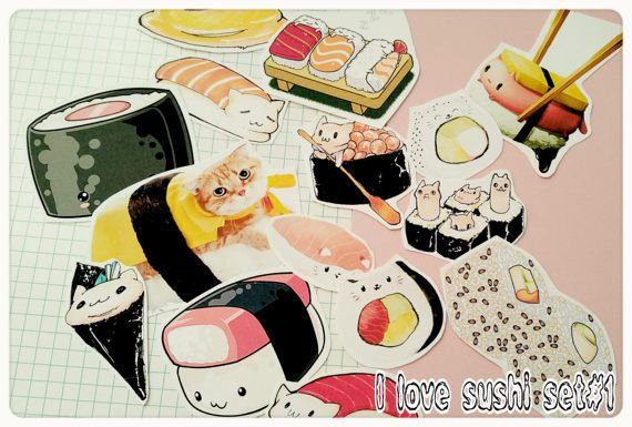Sushi Stickers-Kawaii Cat,Sushi Planner Stickers-laptop Tumblr stickers Decor in Computers/Tablets & Networking, Laptop & Desktop Accessories, Case Mods, Stickers & Decals | eBay!
