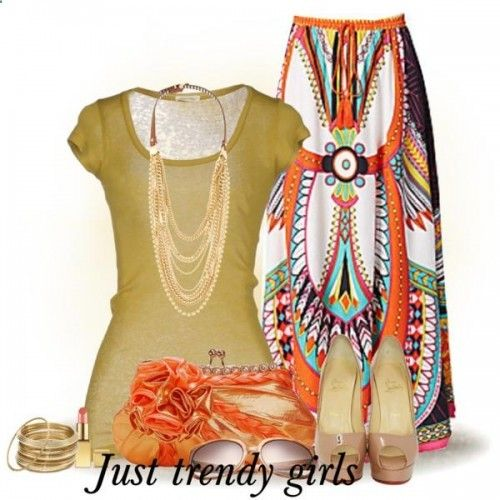 Aztec maxi skirt outfit- Feminine woman's maxi skirts collection www.justtrendygir...