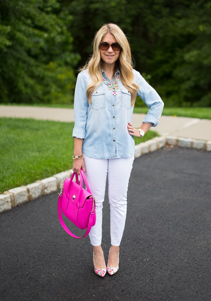 This is the softest chambray shirt I have found, and I paired it with white denim for a crisp summer look.  Click through to find out where to get it!
