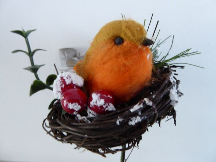 Robin in Nest Christmas Pick Floristry Garlands Wreaths Table Decoration 10cm #UKGARDENS