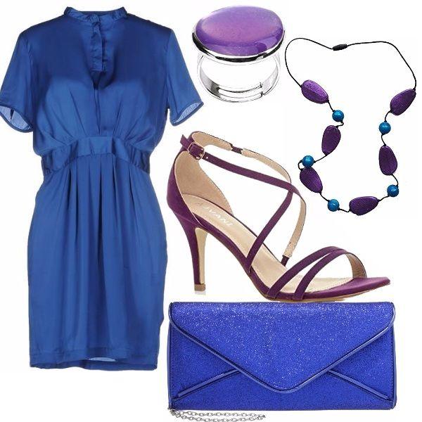 Una serata elegante, un abito semplice ma efficace, dai colori accesi e decisi. Ho scelto dei sandali viola con tacco da abbinare all'anello e alla collana. Piccola pochette blu elettrico con glitter argentati.