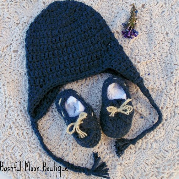 Crochet booties- Baby Boy Boat Shoes, nautical theme, Crochet beanie Earflap Hat on Etsy, $28.00
