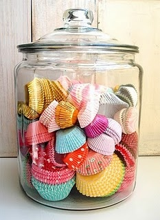 Cute cupcake liner storage for pantry... I have the cutest pantry storage ever!!! Once all finished I am going to upload!