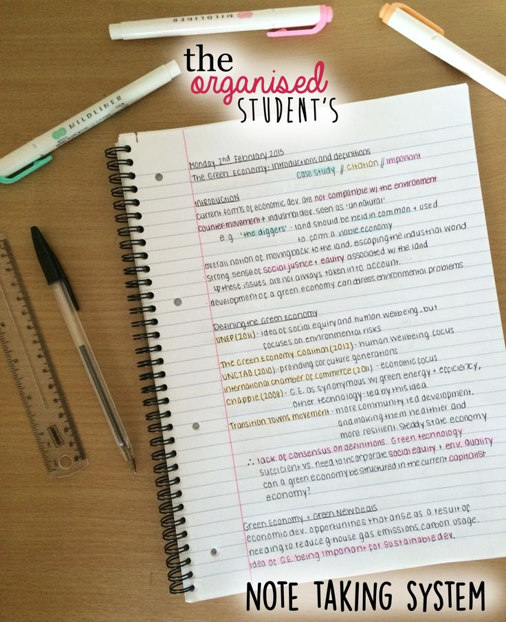 Student and study habits blogger 'The Organized Student' produced this helpful and concise guide to note-taking for class.