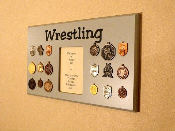 Wrestling Award Holder 18 Medal Gray by WoodArtandMore on Etsy, $24.00