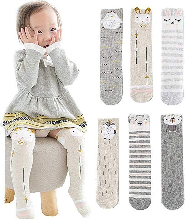 29bde153dbcac Amazon.com: Unisex Baby Socks Toddler Girl Knee High Socks Leg Warmers  Animal Cotton Socks 1-7 Yrs (Pack of 6 Pairs): Clothing